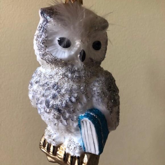 Snowy Owl Hand Blown Sewerynski Christmas Ornament